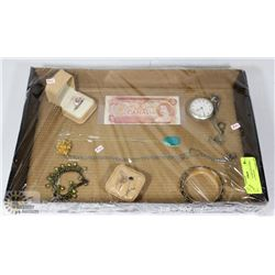 TRAY OF JEWELRY INCLUDING ELGIN POCKET WATCH