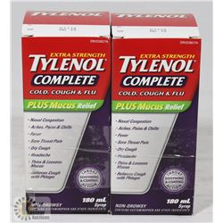TWO BOTTLES OF TYLENOL COMPLETE COUGH COLD & FLU