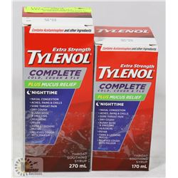 LOT OF 2 TYLENOL EXTRA STRENGTH NIGHTTIME COLD/FLU