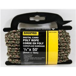 "NEW! REFLECTIVE CAMO POLY ROPE ¼"" x 50'"