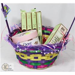 EASTER GIFT BASKET OF PIXI MAKEUP AND DOVE BODY