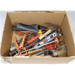 BOX OF TOOLS, HAMMERS. LEVEL, KNIFE, FLASHLIGHT
