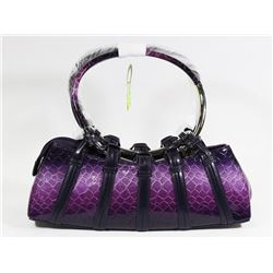 PURPLE SNAKESKIN STYLE METAL RING HANDBAG