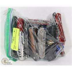 BAG OF ASSORTED POCKET KNIVES.