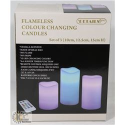 3PK R/C COLOUR CHANGING PILLAR CANDLES