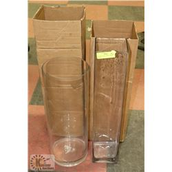 LOT OF 2 VASES, 10  ROUND, 20  SQUARE