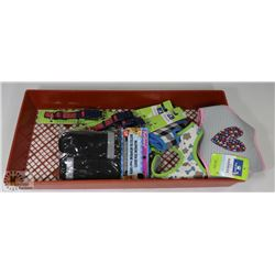 LOT OF DOG SUPPLIES INCL 3 HARNESS, 3 LED COLLARS,