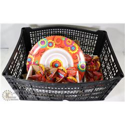 LOT W/ PARTY PLATTERS WITH SHOT GLASS ON CHAIN