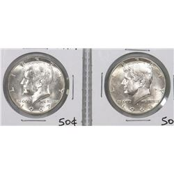 TWO USA KENNEDY SILVER 50 CENT COINS 1967  1968