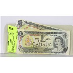 LOT OF 10 - 1973 CANADIAN UNC SEQUENTIAL $1.00