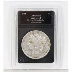 1901 ENCASED US MORGAN SILVER DOLLAR.