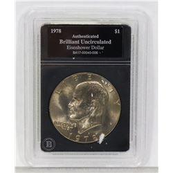 1978 B.U. EISENHOWER ENCASED DOLLAR COIN.