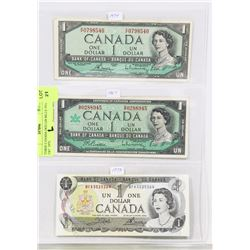THREE CANADA DOLLER BILLS 1954  1967  1973.