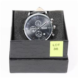 NEW MEGIR CALENDAR DATE WATCH WITH BLACK LEATHER