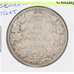 1910 CANADIAN EDWARD VII SILVER 50 CENT COIN