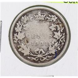 1901 CANADIAN QUEEN VICTORIA 25 CENT COIN