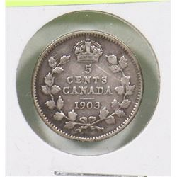 1903 EDWARD VII 5 CENT 1ST YEAR OF ISSUE COIN