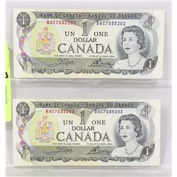 TWO CANADIAN 1973 DOLLAR BILLS IN SEQUENCE.