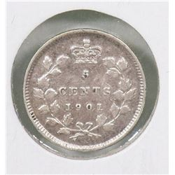 1901 CANADIAN QUEEN VICTORIA SILVER 5 CENT COIN