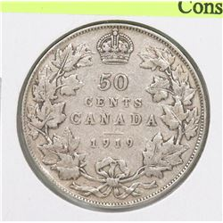 1919 CANADIAN GV EDWARD VII SILVER 50 CENT COIN