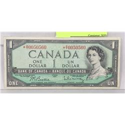 1954 CANADIAN ASTRISK O/Y REPLACEMENT $1 NOTE