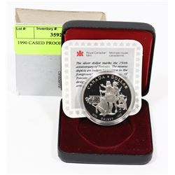 1990 CANADIAN CASED PROOF SILVER $1 COIN
