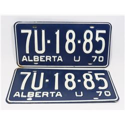 PAIR OF NEVER USED 1970 ALBERTA LICENSE PLATES.
