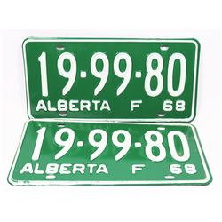 PAIR OF NEVER USED 1968 ALBERTA LICENSE PLATES.