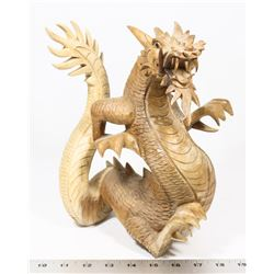"HANDCARVED WOOD DRAGON 11"" HIGH"