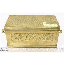 BRASS KEEPSAKE BOX, 10 X 5 X 6