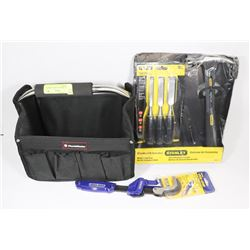 SMALL TOOL BAG WITH ASSORTED NEW TOOLS