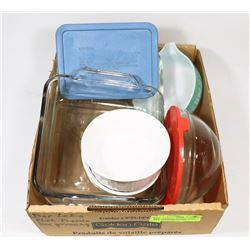 ASSORTMENT OF PYREX DISHES, INCLUDES 8X8 AND 9X12