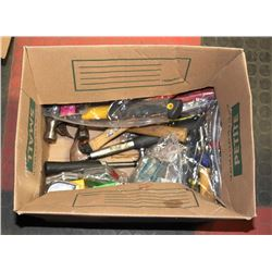 BOX WITH TAPE MEASURERS, SCREW DRIVERS AND MORE