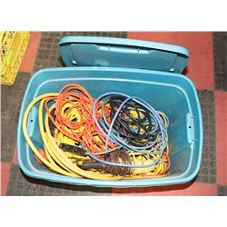 TOTE OF ELECTRICAL CORDS - SOME COMMERCIAL GRADE