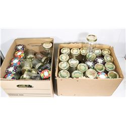 2 BOXES OF JARS