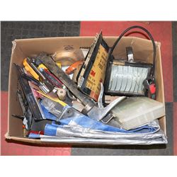 LARGE BOX OF PAINTING/DRYWALL TOOLS AND