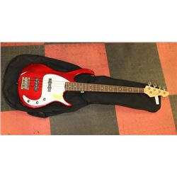 IBANEZ ELECTRIC RED BASS GUITAR W/ SOFT CASE.