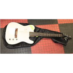 WASHBURN TELLY STYLE WHITE GUITAR WITH SOFT CASE.