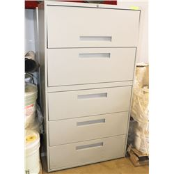 5 DRAWER FILING CABINET WITH DIVIDERS INSIDE.