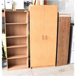 GROUP OF 3 VINTAGE SHELVES AND CABINETS
