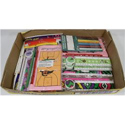 FLAT OF AT LEAST 10 PENCIL CASE SETS W/ 1 PACK OF
