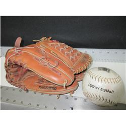 Rawlings Pro Series Baseball Glove & Softball / excellent cond.