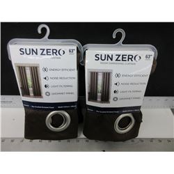 New Pair Sun Zero Room darkening Curtain / 50 x 63 long / 2 pieces