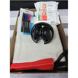 Bundle of NEW Assorted Items / Headphones / Pillowcase / Permanent markers