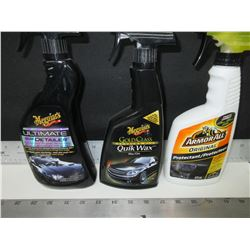 Bundle of 3 Car Care / Meguires Detailer & Quik Wax / Armor All Original spray