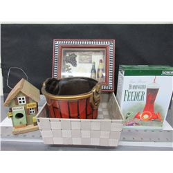 Bundle of Assorted items / Hummingbird feeder / Birdhouse / Pot and more
