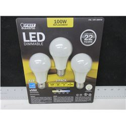 3 pack LED Dimmable Lightbulbs / 100watt replacement / last 22 years
