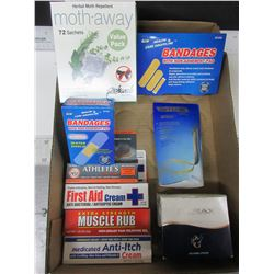 Flat of Assorted Items / First Aid Bundle / Purex Underarm Pads / moth away