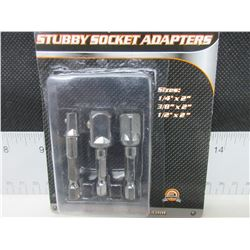 "New 3 piece Stubby Socket Adaptors / sizes- 1/4"" - 3/8"" - 1/2"""