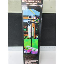 "Weather Vane Station / 56"" high / 5 functions / rain gauge , thermometer etc."